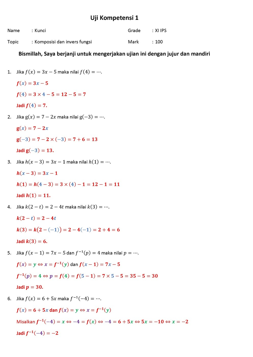 Soal Matematika Wajib Kelas 11 Semester 1 Dan Pembahasannya Kunci Dunia
